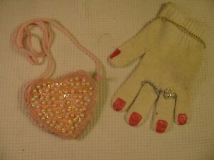 Pink Heart Beaded Purse ~ Glove Bracelet Rings Painted Nails Girls Play Dress-Up