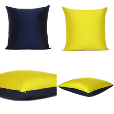 """Yellow Navy Blue Cover Cushion Both Pillow Sides Case Silk Throw Sofa Square 18"""""""
