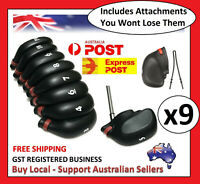 9 pc Rubber String Head Cover Golf Iron Club Putter Headcover 3-SW Set Black