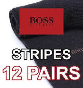 HUGO BOSS MEN'S DRESS SOCKS - BLACK WITH STRIPES - 12 PAIRS