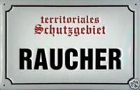 Territoriales Schutzgebiet Raucher Blechschild 3D geprägt Tin Sign 20 x 30 cm