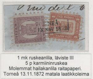 Finland 11 1866 1 Mark Ultimate Exhibition Copy On Piece With 5 Pen ! - §