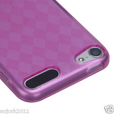 Apple iPod Touch 5 Candy Skin Tpu Gel Cover Case Accessory Hot Pink Checkers