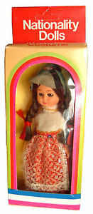 Vintage Early - Mid 1980s Boxed Nationality Girl Doll, Switzerland, sleepy eyes