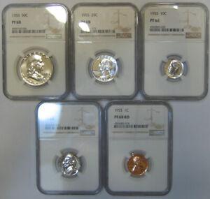 Blast White 1955 Proof Set - all 5 coins grade NGC PR68