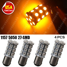 4X Amber Yellow 1157 BAY15D 27-SMD LED Turn Signal Blinker Light 1157A 7528 T20