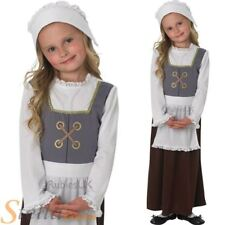 Child Tudor Girl Costume Book Week Fancy Dress Kids Poor Victorian Maid Outfit