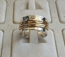 Silver and Gold Spinners Ring ,Wedding Band ,Handmade Bridal Ring ,Wedding Ring