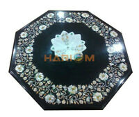 2'x2' Marble Top Coffee Table Mother of Pearl Floral Marquetry Inlay Decors B454