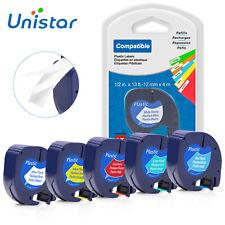 5 PK 91201 91205 Compatible DYMO Plastic Label Tape  LT LetraTag 12mm Mix colour