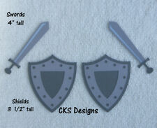 Die Cut Medieval Knight Sword Shield Scrapbook Page Embellishment Paper Piecing