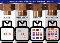EURO-FÜLL-SET 4-teilig für Gasflaschen Adapter Füllstutzen Europa Ausland