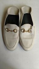 Auth Gucci Calfskin Womens Brixton Horsebit Loafers 39 White