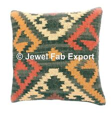 "Indian Handwoven Cushion Cover 18x18"" Jute Rug  Kilim  Pillow Case Throw 2 pc"