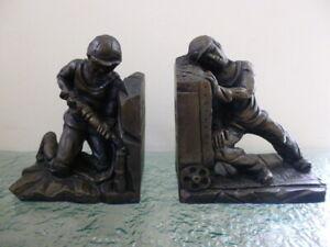 Vintage Handmade Robert Olley Bookends Holywell Mining Group Newcastle uponTyne