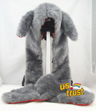 Long Ear Bunny Cap Faux Fur Full Animal Hood Hoodie Hat  Paw Mitten Glove Button