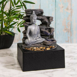 Indoor Water Fountain with LED Light Meditating Buddha Zen Meditation Home Decor