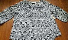 St John's Bay navy and white patterned sheer blouse top women's 2X NWT