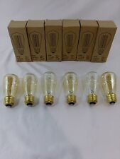 (Lot of 6) Vintage Style Edison Bulb, Light Gold Glass ST45 60W 120V