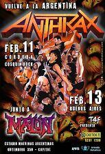 Anthrax / Junto A Malon Argentina 2012 Concert Tour Poster - Thrash Metal Music