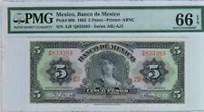 Mexico Banco de Mexico 5 Pesos 1963 P#60h  PMG 66 EPQ  .GEM UNC