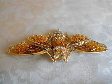 Beautiful Yellow Crystal & Enamel Insect Brooch! New!