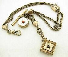 "Antique Gold Filled 13 1/4"" Pocket Watch Chain w Slide Jeweled Garnet Locket Fob"