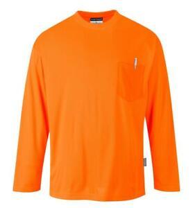 Portwest Non ANSI Pocket Long Sleeve T-Shirt Orange S579 Case of 10