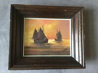 Sail Boats at Sunset Oil Painting Signed WELLS