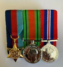 MINIATURE WW2 - 1939/45 STAR, DEFENCE MEDAL, WAR MEDAL COURT MOUNTED SET