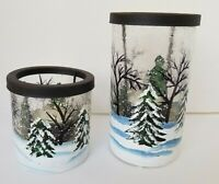YANKEE CANDLE SET (2) Retired Winter Frost Pines Crackled Glass Tealight Holders