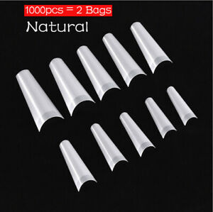 2 Bags/1000pcs Natural Seamless C Curve Half Cover Acrylic Nail Art False Tips