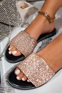 NEW Bling Diamante Rhinestone Stud Slide Flat Sandal Flip Flops Slipper Open Toe
