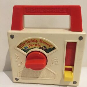 Vintage Fisher Price 1979 'The Teddy Bear's Picnic' Mini Music Box Made In USA