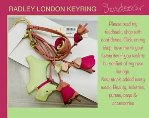 Radley keyring leather charm. Little Venice green & pink flowers, tassels & dog