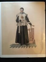 Catholic Art - Antique Print/Lithograph of Catholic Priest - 19th c