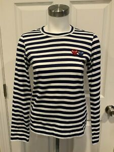 PLAY Comme Des Garcons Navy Blue & White Striped Long Sleeve Shirt, Size Small