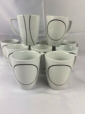 11 Corelle Coordinates White & Black Simple Lines Porcelain 12oz Coffee Cup Mugs