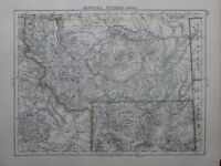 1901 VICTORIAN MAP UNITED STATES MONTANA WYOMING NORTH