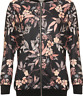 Plus Size Ladies Long Sleeve Lightweight Floral Print Khaki Black Bomber Jacket