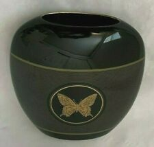 "Papillon Cotagiri Goldtone Black Closionne 6X6.5"" Butterfly Bug Vase Figurine"