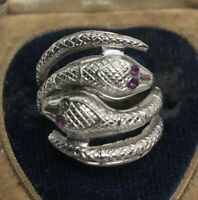Vintage Sterling Silver Ring 925 Size 5 Espo Band Snakes Esposito