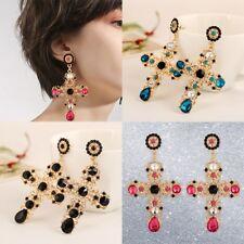 New Baroque Style Crystal Luxury Gold Cross Large Long Dangle Earrings Women