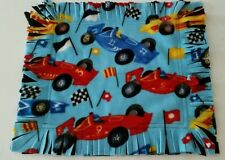 New Small Fleece Security Blanket Toddler Blue Race Car Tag Flinge