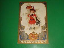 ZU386 Rare 1910 Halloween Postcard Red Headed Witch Black Cat jack off lantern