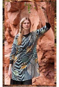 Gudrun Sjoden NWT Blue Green Print Artistic Cotton Tunic Dress Size L RRP £79
