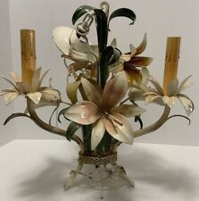 Italian Tole FLOWER CHANDELIER Vintage Painted Metal Lily 3 Light Petite 14""