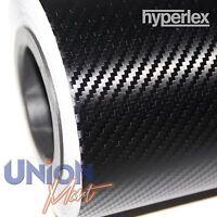 3D CARBON FIBRE VINYL WRAP BLACK TEXTURED HYPERLEX BUBBLE FREE 1520mm x 400mm