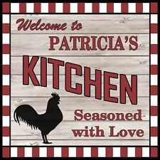 PATRICIA'S Kitchen Welcome to Rooster Chic Wall Art Decor 12x12 Metal Sign SS173