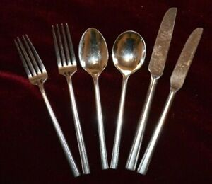 6 Pieces Oneida Stainless Steel Cutlery Flatware Knife Fork Spoon Soup Spoon